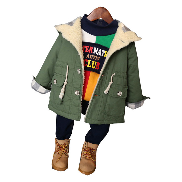 2016 Fashion Boys Winter Jacket New Design Thick Warm Single-breasted Hooded Outwear Kids Children Clothes Boys Coat For 2-8Year