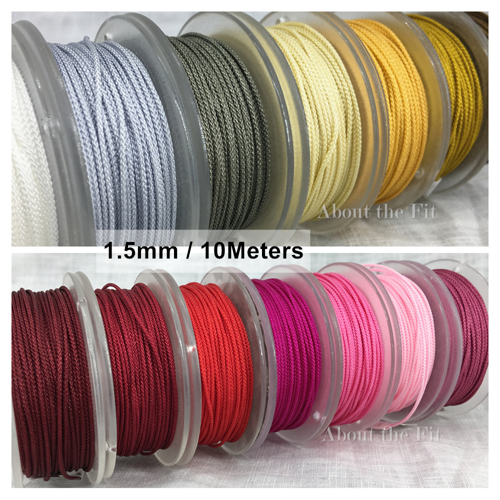 1.5mm 10M/Roll Braided Artificial Silk Thread For Jewelry Making Tassels Macrame Rattail Cord Nylon String Strap Rope Beads Lace