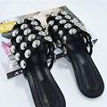 [Soonyour] 20016 новый осень лето выдалбливают Ногтей черный Плоским Дном Тапочки женщин моды прилив HB00815