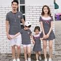 2017 familia conjunto de moda de rayas vestidos ropa padre madre hija hijo t shirt + shorts de algodón family clothing sets 3xl hh19