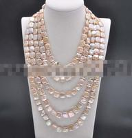 Hot selling free shipping*******Long 100 12mm Pink Square Coin Freshwater Pearl Necklace