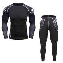 Man's Compression Suits Sweat 3D Prints Long Sleeves Compression Shirt and Long Pants Mens Breathable Workout Fitness Men's Sets