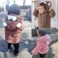 Crianças Outerwear meninos meninas Inverno Casaco Com Capuz Quente Jaqueta de Roupas Infantis Para Baixo Urso jaquetas miúdo 1-4 anos
