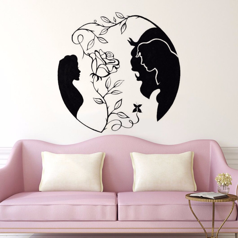 Home-Decor-Beauty-and-the-Beast-Vinyl-Wall-Decal-New-Design-Rose-Wall-Sticker-Inspired-Love (1)