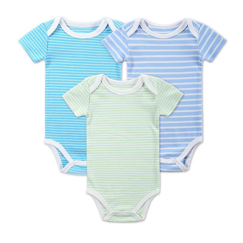 3 Pieceslot Baby Fashion Striped Short Sleeve Rompers Children Jumpsuit Newborn Boys Girls Clothes Body Roupa de Overalls