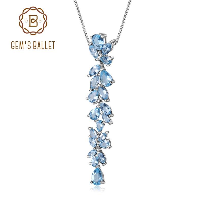 BALLET GEM'S 14.33Ct cielo Natural azul Topacio 925 hojas de plata esterlina y ramas colgante collar para mujeres joyería de compromiso-in Colgantes from Joyería y accesorios    1