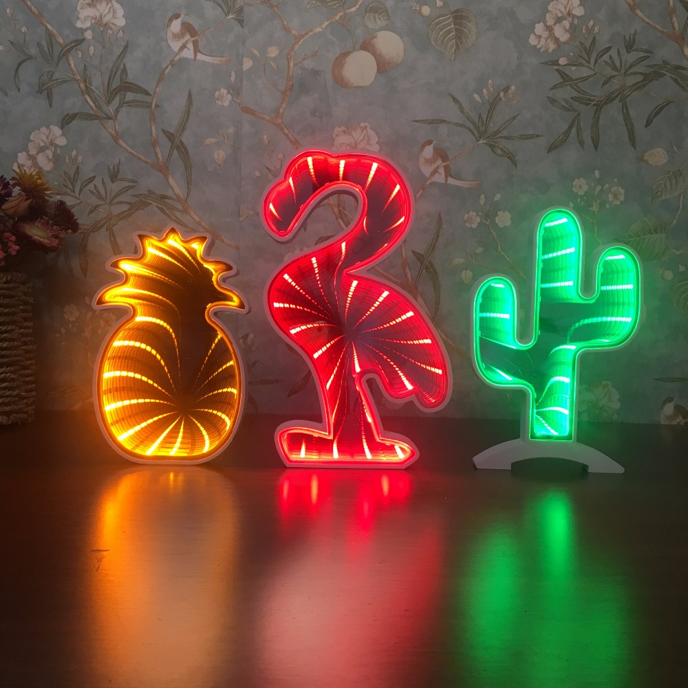 Creative 3D Tunnel LED Wall Lamp Night Light Pineapple Decorative Moon Star Cloud Flower Desk Lighting For Bedroom Kid Gift