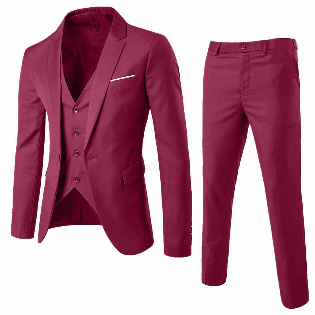 3 ピース男性のブレザースーツ結婚式スリムフィットのビジネスオフィス新郎パーティー衣装韓国メンズスーツパンツベスト 3XL