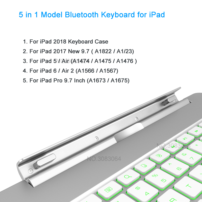 Купить с кэшбэком Landas USB Backlit Keyboard For iPad Pro 9.7 2018 Slot  Cover For iPad 9.7 New 2017 Wireless Keyboard Bluetooth For Air 2 Tablet