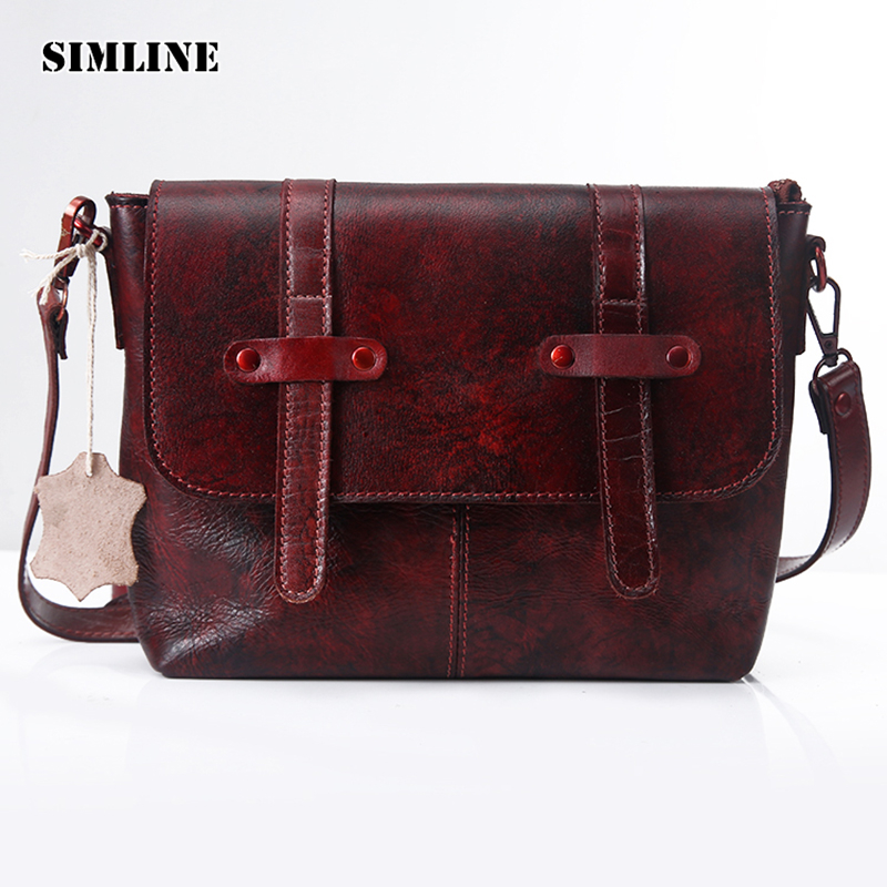 Vintage Handmade 100% Genuine Vegetable Tanned Leather Cowhide Women Messenger Shoulder Cross Body Bag Bags Handbag For Ladies 2016 genuine leather women s patchwork shoulder bag embossed cowhide handbags women messenger bag vintage cross body bags ws41