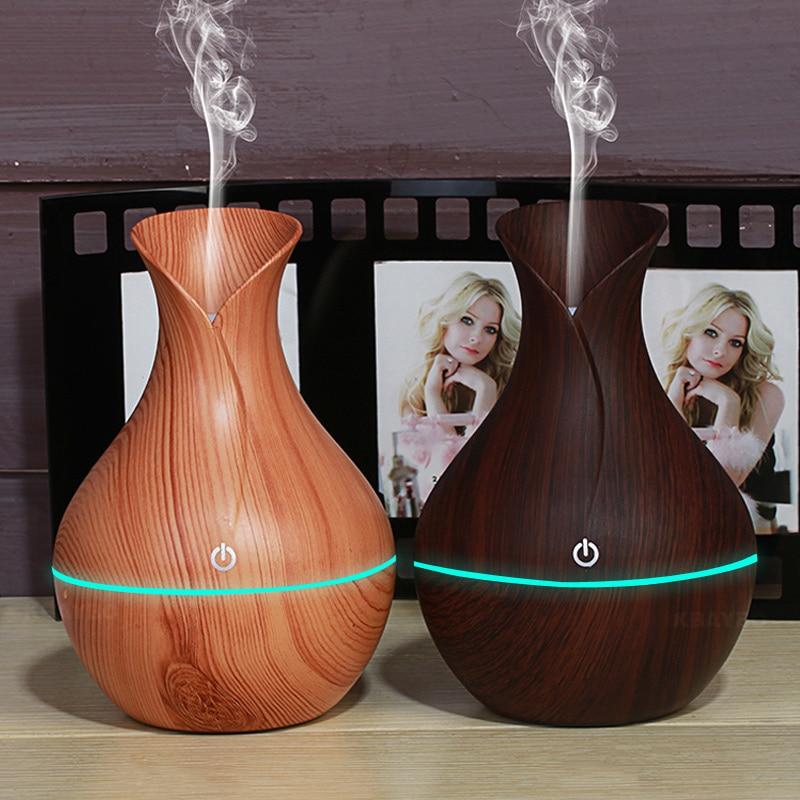 KBAYBO 130 ml USB aroma diffusore di olio di legno elettrico umidificatore ad ultrasuoni umidificatore aromaterapia LEDlight mist maker per la casa