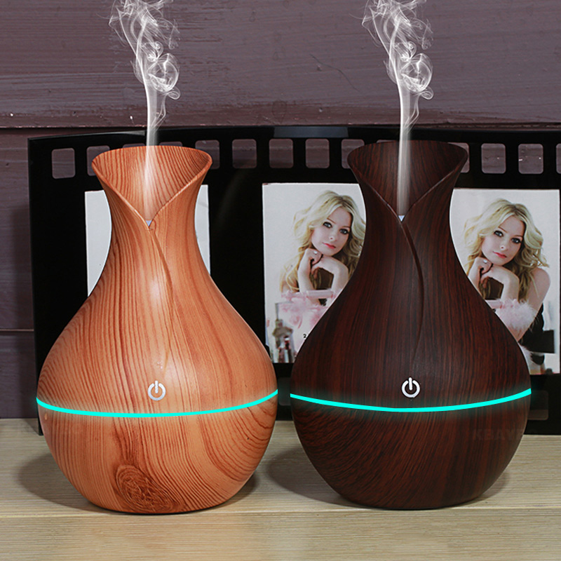 KBAYBO 130ml USB aroma oil diffuser wood electric humidifier ultrasonic air humidifier aromatherapy LEDlight mist maker for home