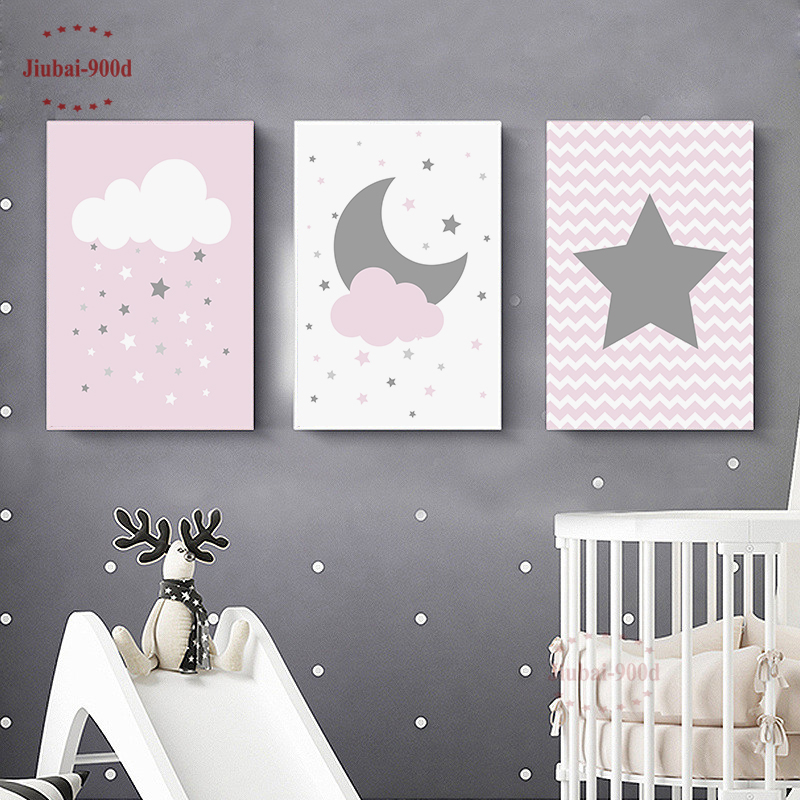 Nursery Cartoon Stars Cloud Moon Posters Canvas Painting Baby Room Wall Decoration Pictures Wall Art Posters And Prints NUR42