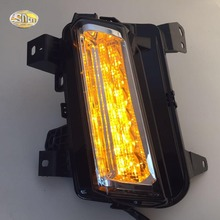 Led daytime running lights for Cadillac XT5 2016 2017 Fog lamp drl with yellow turning signal lamp