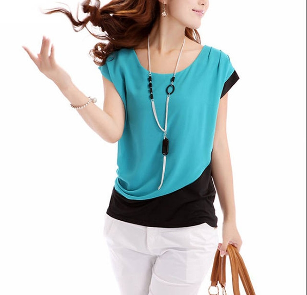 New Summer Style Women Shirt Lady Chiffon O-Neck T...
