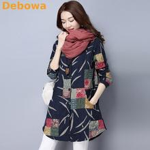 Debowa 2017 Winter Women Blouse Warm Thicken Plus Size Women Tops Cotton Slim All-match Floral Print Long Shirt