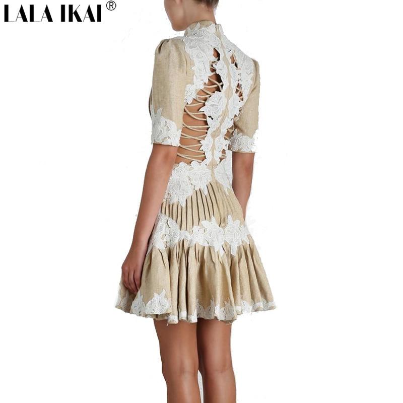 LALA IKAI Embroidery Ladies Sexy Mini Dress Vestidos Women