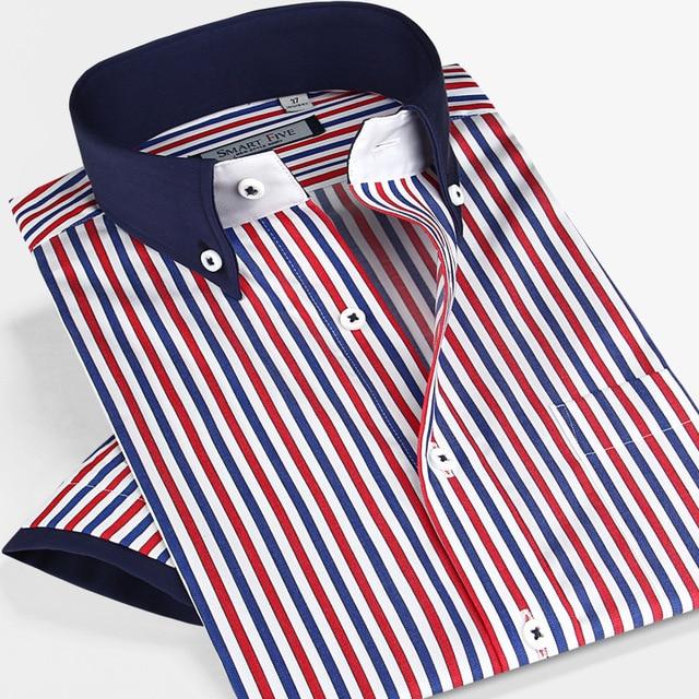 Inteligente cinco do sexo masculino Camisas de Manga Curta Dos Homens da Camisa de Vestido Ocasional dos homens roupas de Luxo Fino