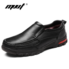 MVVT Plus Size Genuine Leather Shoes Men Winter Slip On Loafers Casual Height Increasing Business Snow