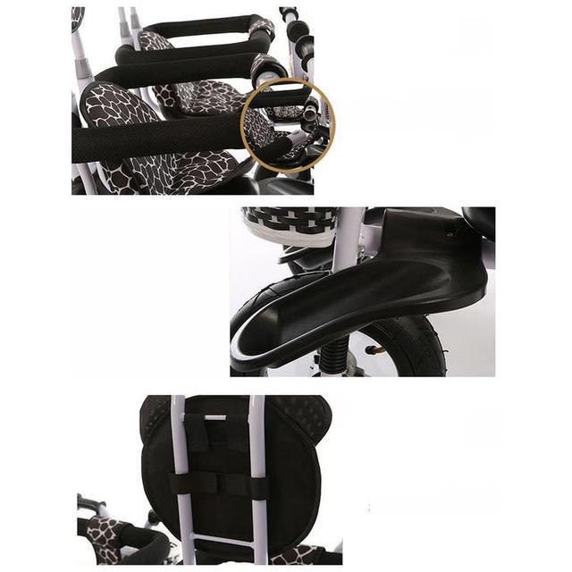 Triciclo tándem con pedales gemelos multifuncionales con marco de acero, triciclo gemelos con barra de empuje extraíble, cochecito para gemelos con rueda de inflado