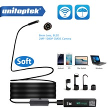 1M 2M 5M kablosuz WiFi endoskop Mini su geçirmez yumuşak kablo HD 1200P muayene kamera 8mm lens 8 LED Borescope Android IOS için