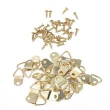 100 шт золотые маленькие d-образные кольца для картин с винтами рамка треугольные кольцевые вешалки
