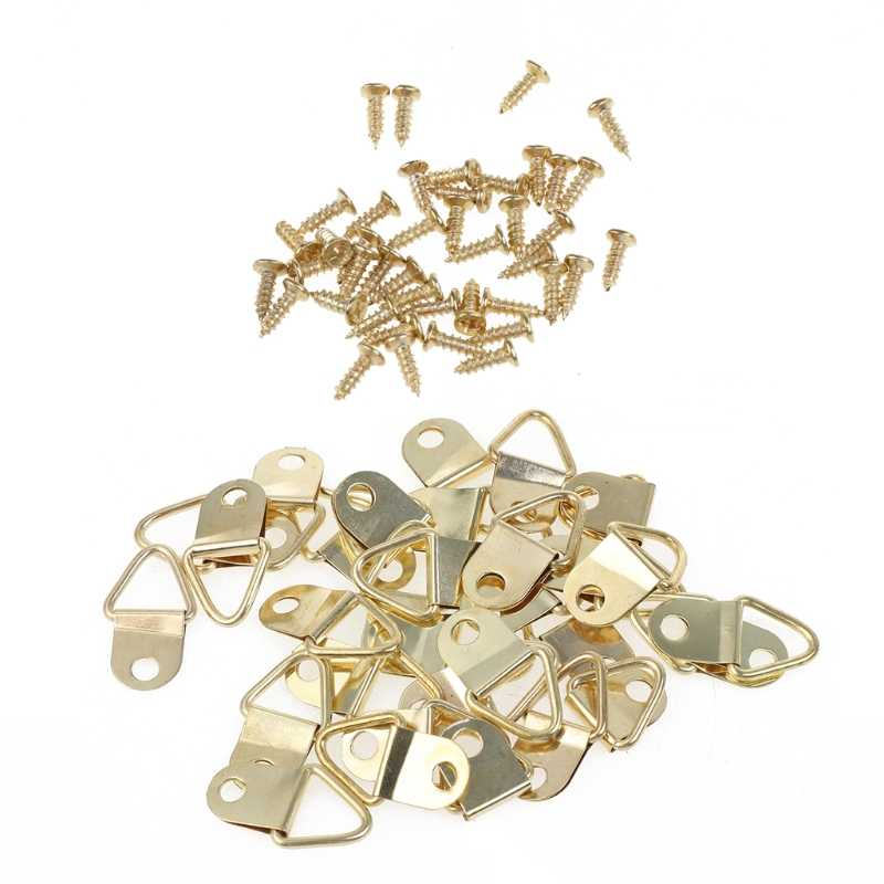 100PCS Gold Small D-Ring Picture Hanger with Screws Frame Triangle Ring Hangers