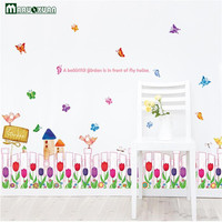 YunXi Butterfly Flower Skirting Stickers Waist Shop Living Room Corner Background Decoration Glass Wall Stickers 140*55CM