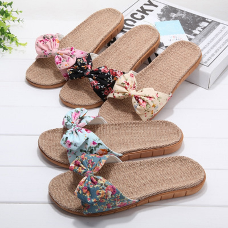 Summer and autumn linen slippers female summer home indoor floral non-slip bathroom cute cool slippers wholesale 3