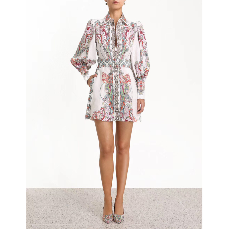 2019 Spring New Classic Long Sleeve Printed Mini Dress with a belt 190508mld01