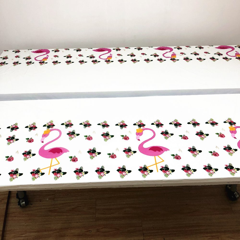Image 4 - 108cm*180cm Flamingo Birthday Party Decoration Kids Boys Event Party Supplies Flamingo Table Cloth For Birthday Party Tablecloth-in Disposable Party Tableware from Home & Garden