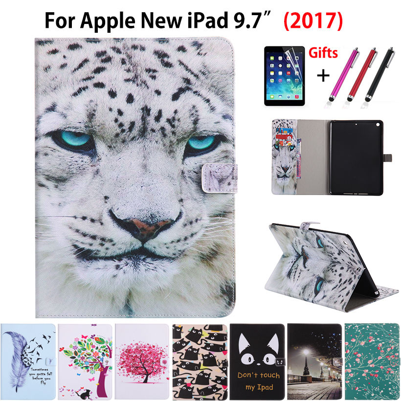 Cartoon Animal Painting Case For Apple New Ipad 9.7 2017 6Th Generation Cases Cover A1822 Funda Tablet Shell +Film+Pen
