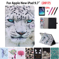 Fashion Cartoon Animal Painting Stand PU leather Case For Apple New iPad 9.7 2017 Cases Cover A1822 Funda Tablet Shell +Film+Pen