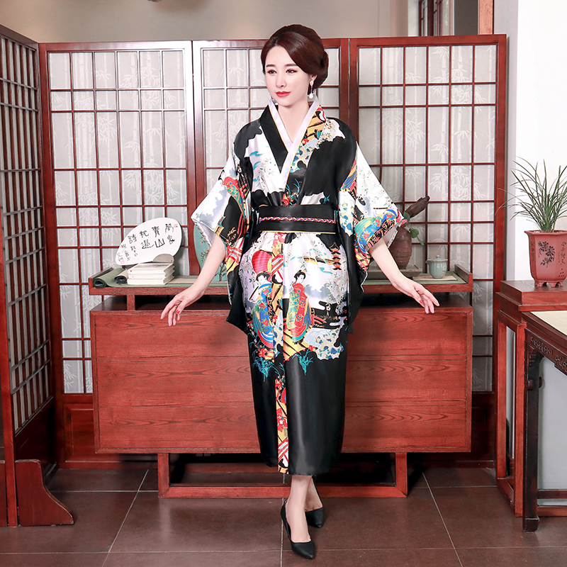 Japanese Traditional Women Sexy Black Peacock Kimono Bathrobe Gown Satin Cosplay Stage Performance Clothing Yukata With Obi