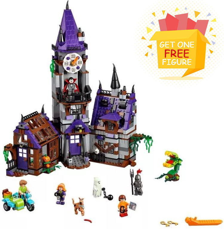 Bela Pogo Compatible Legoe 10432 Scooby Doo Mysterious Ghost House Building Blocks Bricks toys for children 10432 scooby doo mysterious ghost house 860pcs building block toys compatible legoingly 75904 blocks for children gift