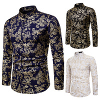 Fall style Night Club Leisure men's fashion collar shirt men's fashion stamped Long Sleeve Shirt Men black shirt