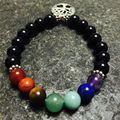 YNB 8mm 7 Pulseira Chakra Pedra Natural Frisado Pulseira Elástica com a Árvore da Vida Real Black Onyx Pulseiras para As Mulheres jóias
