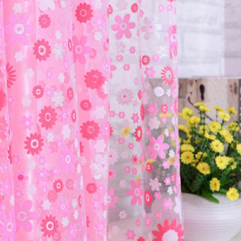 Beautiful Print Floral Voile Door Sheer Window Curtains Room Curtain Divider 2m x 1m Pink Hot-sale HX0318