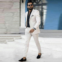 Latest Coat Pants Designs White Mens Classic Suits for Wedding Groom Tuxedos Groomsmen Blazers 2Piece Terno Masculino Prom Party