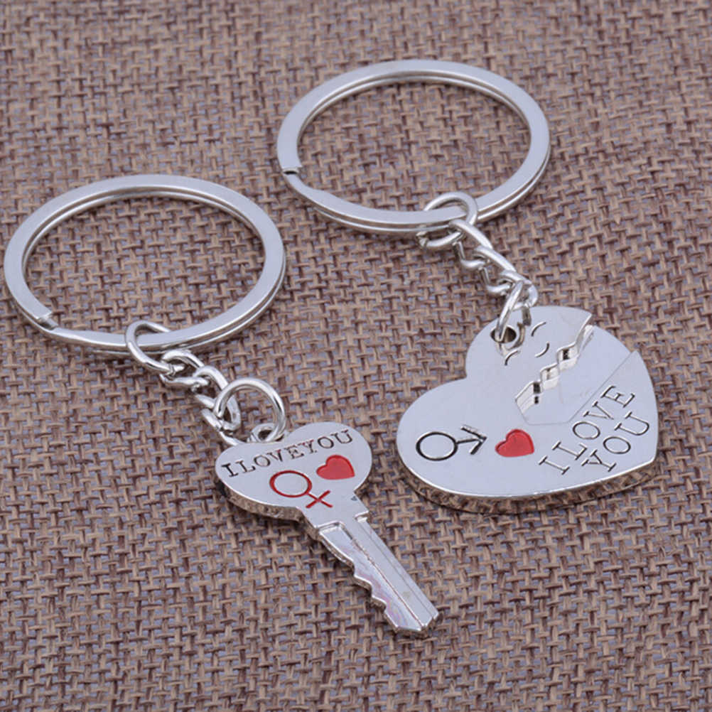 Silver Color Jewelry  Lock Rings Bag Valentine Day Wedding Trinket  Gift Tone Love Heart Key Chains approx.8cm