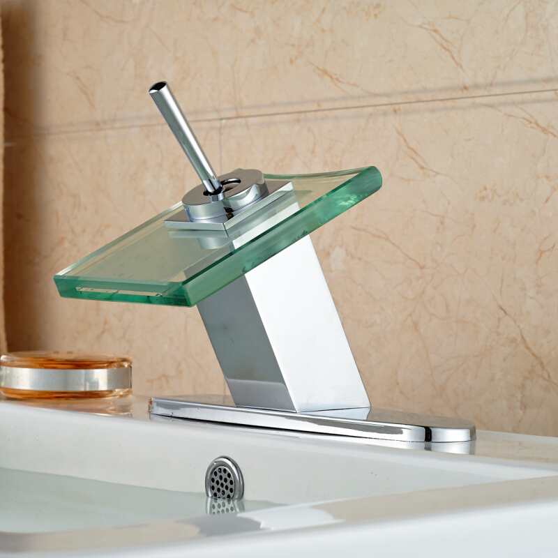 ФОТО Modern Waterfall Glass Spout Sanitary Basin Faucet Single Hole Square hot and cold Water Mixer Tap with Hole Cover