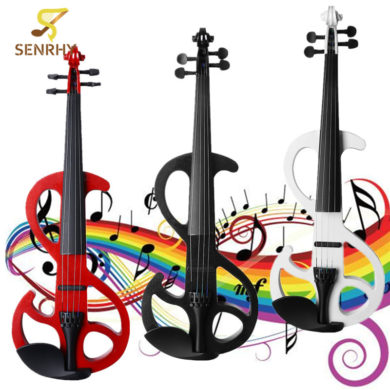 SENRHY 4/4 Size Silent Electric Violin Handmade Solid Wood Basswood Body Brazilwood Bow 4 Fine Tuners with Headphone Audio Cable 4 string orange 4 4 electric violin silent pickup fine tone solid wood3 the item is the color can choose color