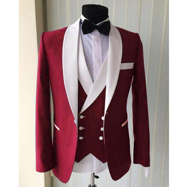 Groom Tuxedos Pants Suits Jacket Slim-Fit Three-Piece White Wedding Men Double-Breasted