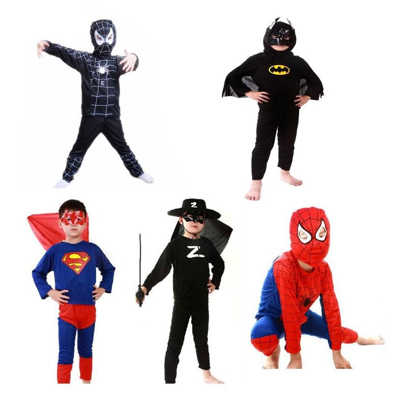 Kids Halloween Costume Carnival Dress Batman Cosplay Spider  Fantasia Movie Avengers Anime