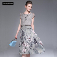 LUCKY HORSE 2017 Summer Dress Short Sleeves O Neck Simple Chiffon Dress Women Plus Size Elegant
