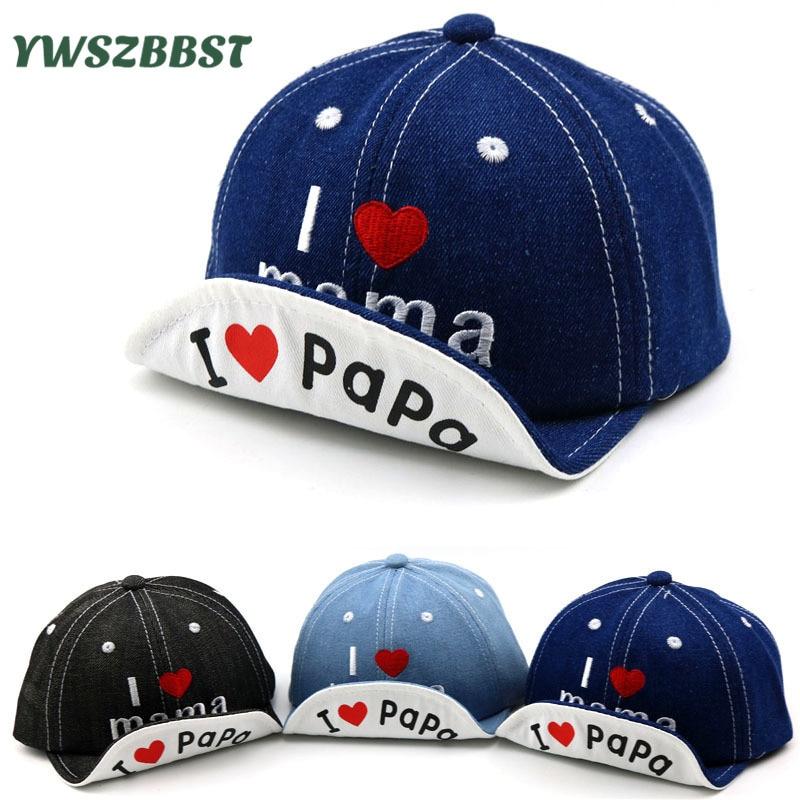 Cartoon Baby Boy Hat Cowboy Hat Cute Love PaPa MaMa Baby Hat Baseball Cap Cotton Baby Girls Summer Sun Hat Spring Autumn Caps