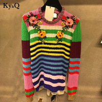 Autumn Winter Vintage Floral Embroidery Sweater Pullover Women 2018 Runway Rainbow Striped Lady Jumper Knitted Clothes Plus Size