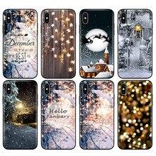 Черный чехол ТПУ для iphone 5 5s se 6 6s 7 8 plus x 10 чехол силиконовый чехол для iphone XR XS 11 pro MAX пейзаж зимний светильник снег