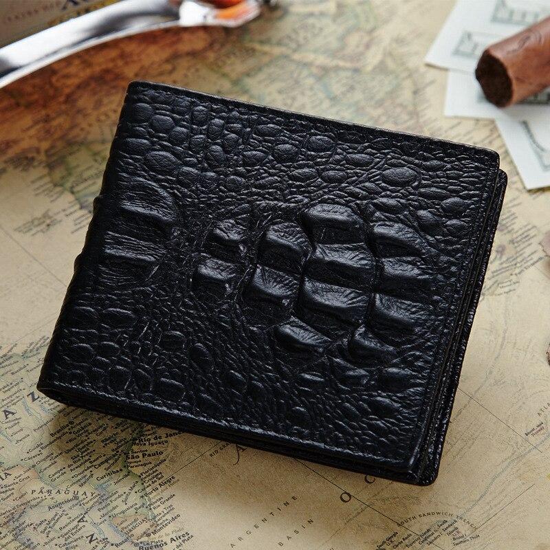 Fashion Men's Wallet Crocodile Pattern Genuine Leather Purse Organizer Slim Wallet Card Holder