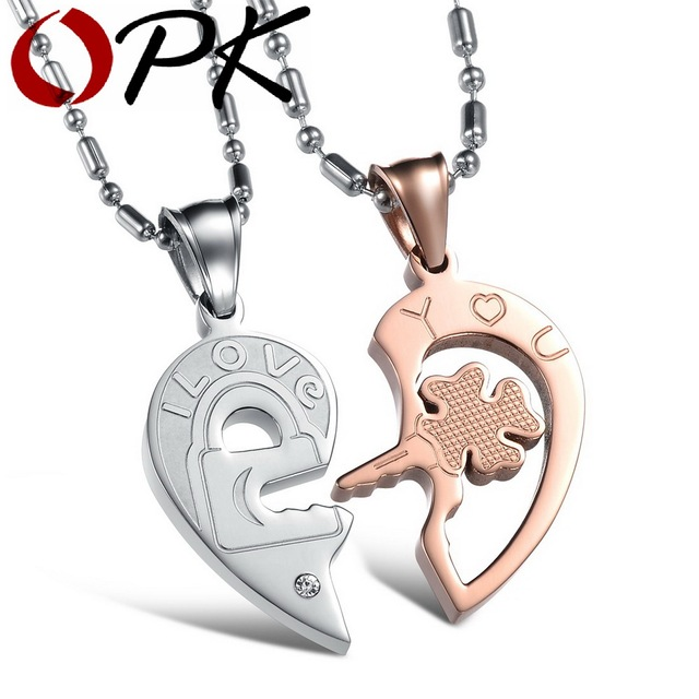 Opk jewelry classic half heart puzzle couple necklace hot selling opk jewelry classic half heart puzzle couple necklace hot selling gift for lover 1 aloadofball Images